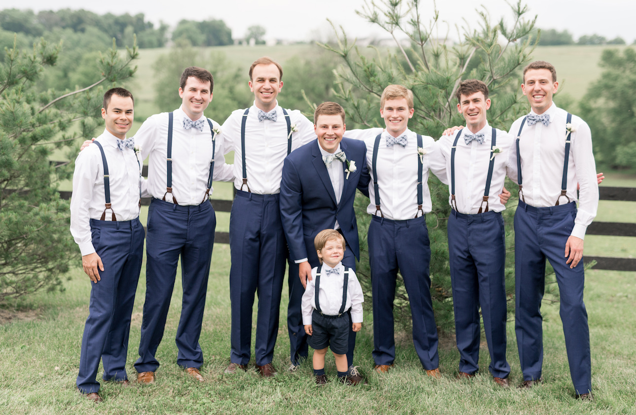 Blue wedding groomsmen suits at Northern Virginia wedding venue