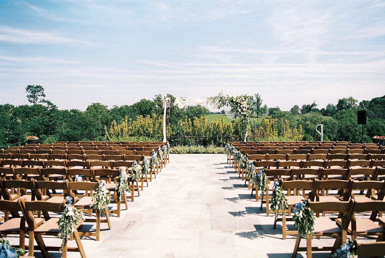 Blue wedding outdoor ceremony at Northern Virginia barn wedding venue
