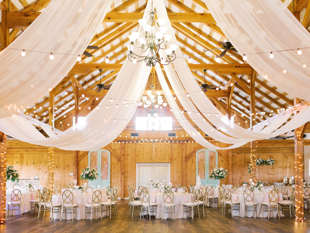 barn wedding venues with draping inside