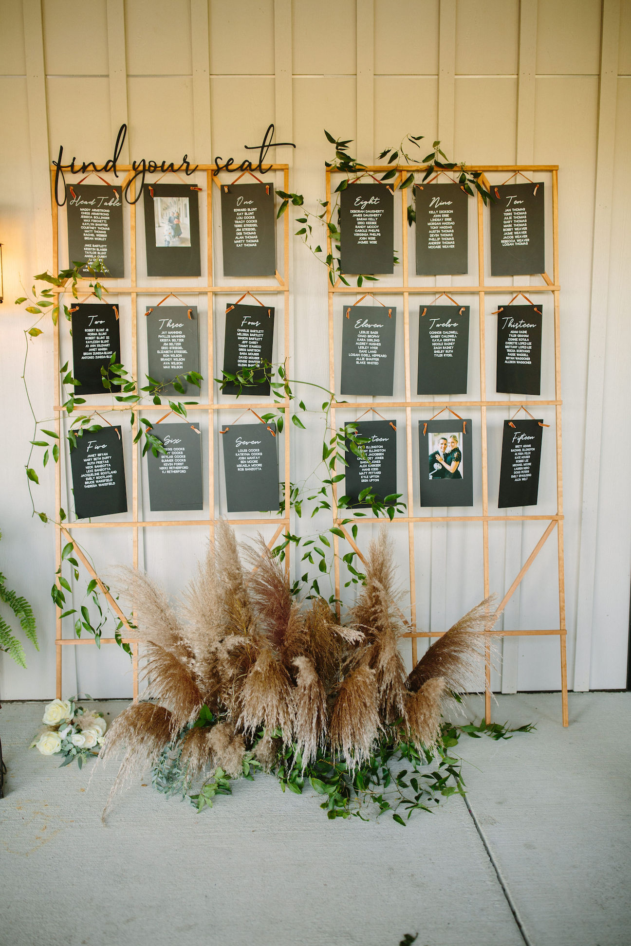pampas grass escort card ideas